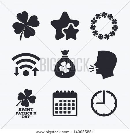 Saint Patrick day icons. Money bag with clover sign. Wreath of quatrefoil clovers. Symbol of good luck. Wifi internet, favorite stars, calendar and clock. Talking head. Vector