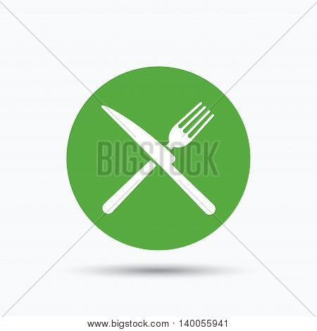 Fork and knife icons. Cutlery symbol. Flat web button with icon on white background. Green round pressbutton with shadow. Vector
