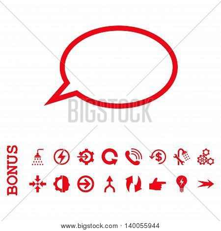 Hint Cloud vector icon. Image style is a flat iconic symbol, red color, white background.