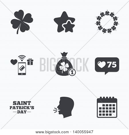 Saint Patrick day icons. Money bag with coin and clover sign. Wreath of quatrefoil clovers. Symbol of good luck. Flat talking head, calendar icons. Stars, like counter icons. Vector