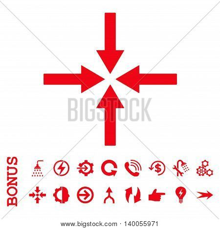 Impact Arrows vector icon. Image style is a flat pictogram symbol, red color, white background.