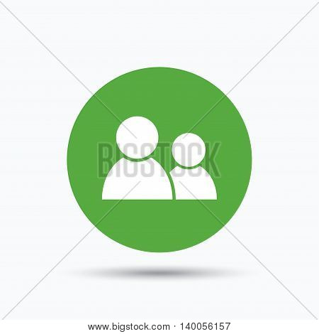 Friends icon. Group of people sign. Communication symbol. Flat web button with icon on white background. Green round pressbutton with shadow. Vector