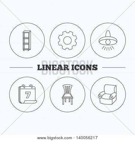 Chair, ceiling lamp and armchair icons. Shelving linear sign. Flat cogwheel and calendar symbols. Linear icons in circle buttons. Vector