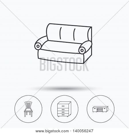 Sofa, chair and chest of drawers icons. TV table linear sign. Linear icons in circle buttons. Flat web symbols. Vector