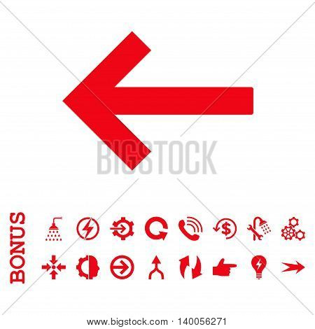 Left Arrow vector icon. Image style is a flat pictogram symbol, red color, white background.