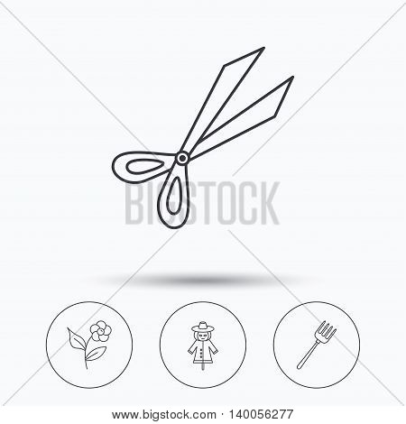 Scissors, flower and pitchfork icons. Scarecrow linear sign. Linear icons in circle buttons. Flat web symbols. Vector