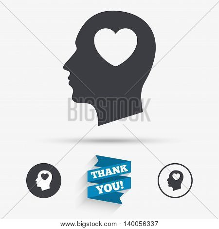Head with heart sign icon. Male human head in love symbol. Flat icons. Buttons with icons. Thank you ribbon. Vector
