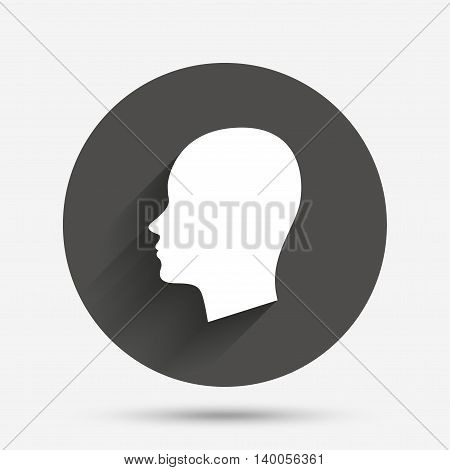 Head sign icon. Female woman human head symbol. Circle flat button with shadow. Vector