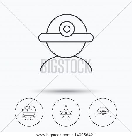 Worker, minerals and engineering helm icons. Electricity station linear sign. Linear icons in circle buttons. Flat web symbols. Vector