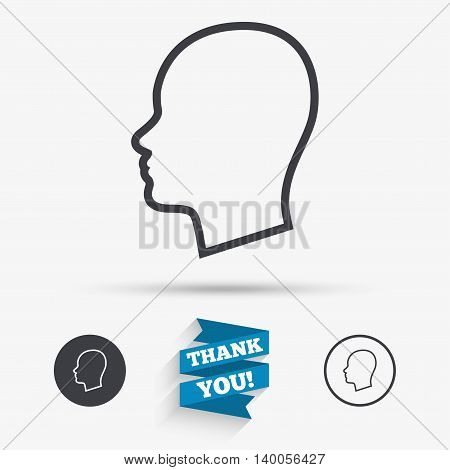 Head sign icon. Female woman human head symbol. Flat icons. Buttons with icons. Thank you ribbon. Vector