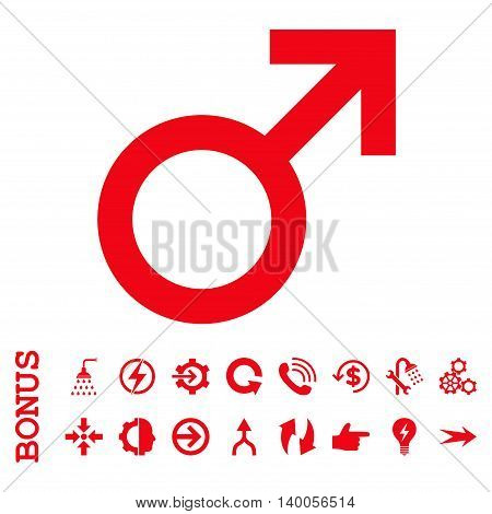 Male Symbol vector icon. Image style is a flat iconic symbol, red color, white background.