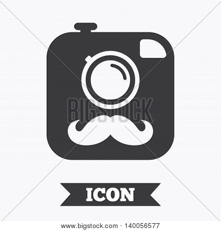 Hipster photo camera with mustache sign icon. Retro camera symbol. Graphic design element. Flat hipster camera symbol on white background. Vector
