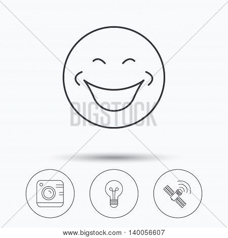 Smiling face, photo camera and lightbulb icons. GPS linear sign. Linear icons in circle buttons. Flat web symbols. Vector