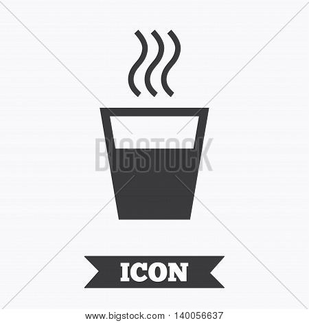 Hot water sign icon. Hot drink glass symbol. Graphic design element. Flat hot drink symbol on white background. Vector