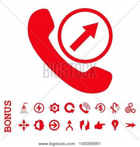 Outgoing Call vector icon. Image style is a flat iconic symbol, red color, white background.