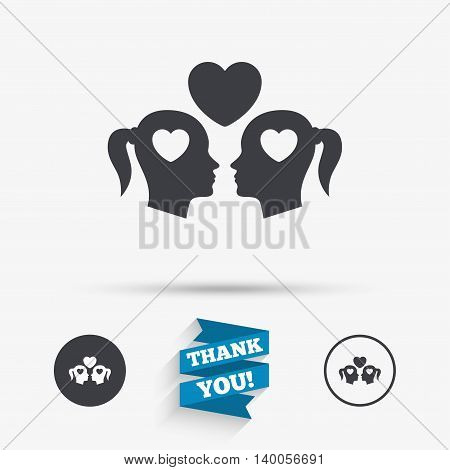 Lesbian couple sign icon. Woman love woman. Romantic homosexual relationships with heart. Flat icons. Buttons with icons. Thank you ribbon. Vector