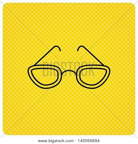 Glasses icon. Reading accessory sign. Linear icon on orange background. Vector