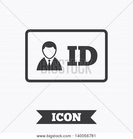ID card sign icon. Identity card badge symbol. Graphic design element. Flat iD card symbol on white background. Vector
