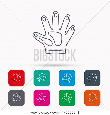 Construction gloves icon. Textile hand protection sign. Housework cleaning equipment symbol. Linear icons in squares on white background. Flat web symbols. Vector
