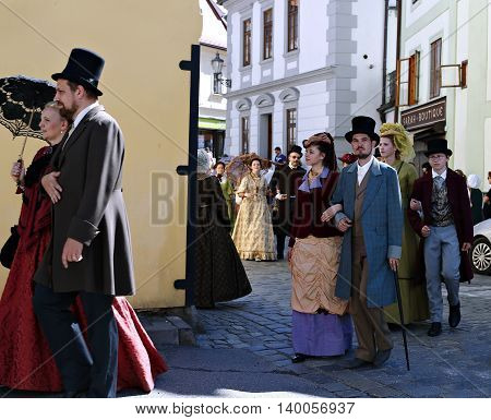 CESKY KRUMLOV, CZECH REPUBLIC - JUNE 18, 2016: Five-petalled Rose Festival on bystreet in Cesky Krumlov
