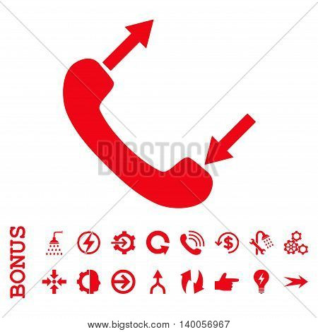 Phone Talking vector icon. Image style is a flat pictogram symbol, red color, white background.