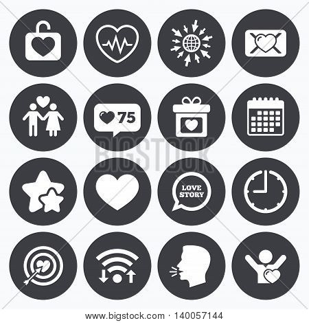 Calendar, wifi and clock symbols. Like counter, stars symbols. Love, valentine day icons. Target with heart, oath letter and locker symbols. Couple lovers, heartbeat signs. Talking head, go to web symbols. Vector
