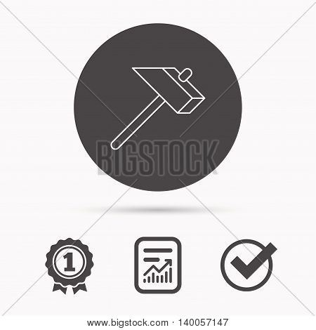 Hammer icon. Repair or fix sign. Construction equipment tool symbol. Report document, winner award and tick. Round circle button with icon. Vector
