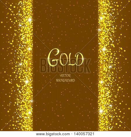 Vector holiday template with sparkles on brown background. Gold glitter frame for festive greeting card vip exclusive gift luxury voucher shopping.