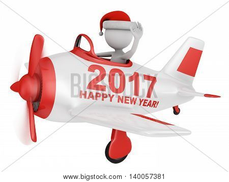 Santa waves his hand in the plane with the inscription Happy New Year 2017. 3D render.