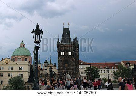 PRAGUE, CZECH REPUBLIC - JUNE 16, 2016: Charles Bridge over the Vltava River in Prague