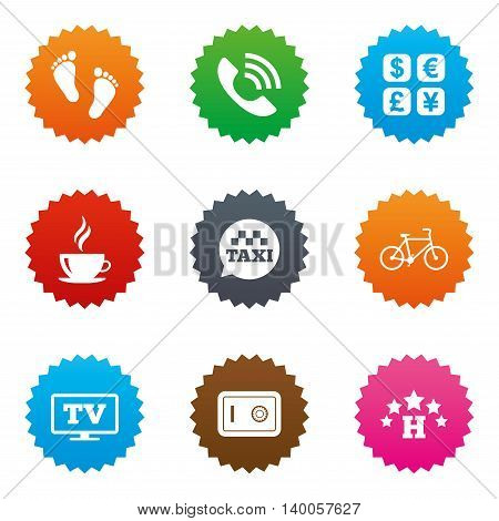 Hotel, apartment services icons. Coffee sign. Phone call, kid-friendly and safe strongbox symbols. Stars label button with flat icons. Vector