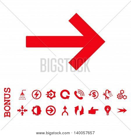 Right Arrow vector icon. Image style is a flat iconic symbol, red color, white background.