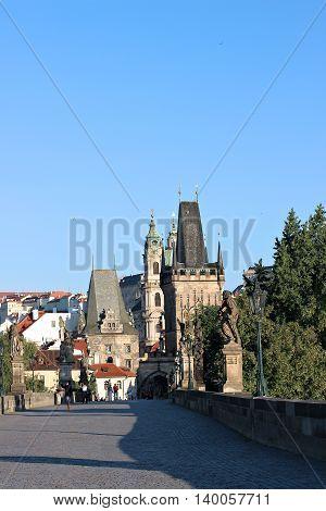 PRAGUE, CZECH REPUBLIC - JUNE 23, 2016: Charles Bridge over the Vltava River in Prague
