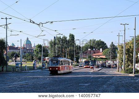 PRAGUE, CZECH REPUBLIC - JUNE 23, 2016: Red tram on street in Prague