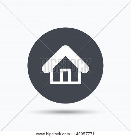Home icon. House building symbol. Real estate construction. Flat web button with icon on white background. Gray round pressbutton with shadow. Vector