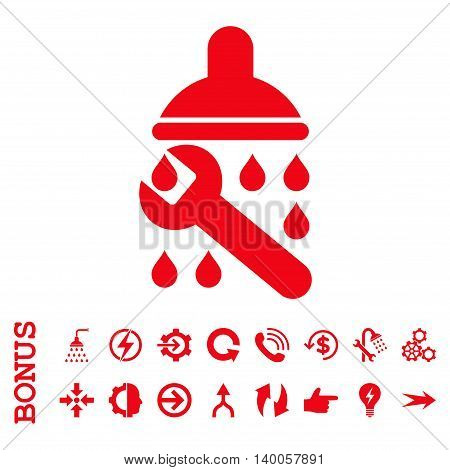 Shower Plumbing vector icon. Image style is a flat pictogram symbol, red color, white background.