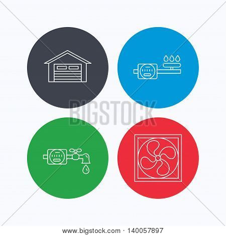 Ventilation, garage and water counter icons. Gas counter linear sign. Linear icons on colored buttons. Flat web symbols. Vector