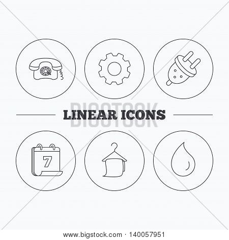 Retro phone, bath towel and electric plug icons. Water drop linear sign. Flat cogwheel and calendar symbols. Linear icons in circle buttons. Vector