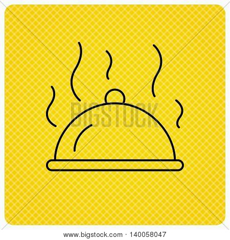 Restaurant cloche platter icon. Hot food sign. Linear icon on orange background. Vector