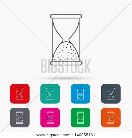 Hourglass icon. Sand end time sign. Hour ends symbol. Linear icons in squares on white background. Flat web symbols. Vector