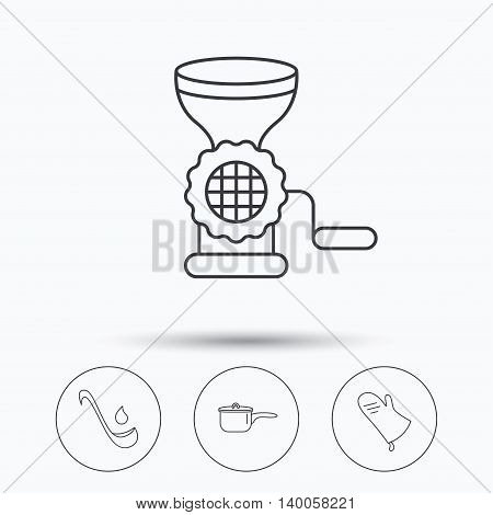 Soup ladle, potholder and kitchen utensils icons. Meat grinder and saucepan linear signs. Linear icons in circle buttons. Flat web symbols. Vector