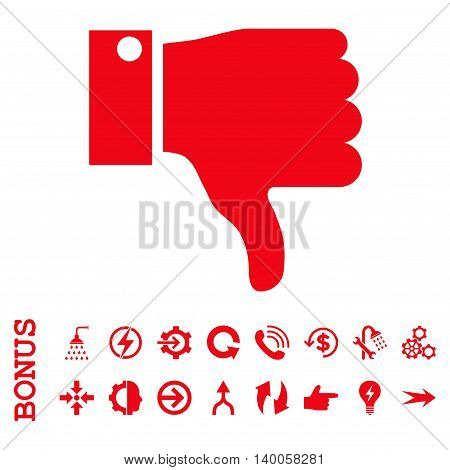 Thumb Down vector icon. Image style is a flat iconic symbol, red color, white background.