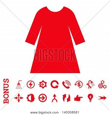 Woman Dress vector icon. Image style is a flat pictogram symbol, red color, white background.