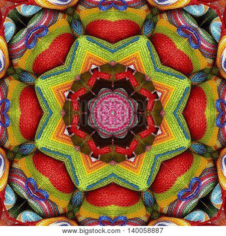 Abstract colorful pattern kaleidoscope sisal mandala wallet weave fractal and heart shape