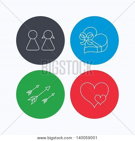 Love heart, gift box and couple icons. Arrows linear sign. Linear icons on colored buttons. Flat web symbols. Vector