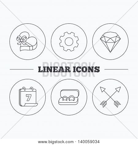 Brilliant, gift box and wedding rings icons. Arrows linear signs. Flat cogwheel and calendar symbols. Linear icons in circle buttons. Vector