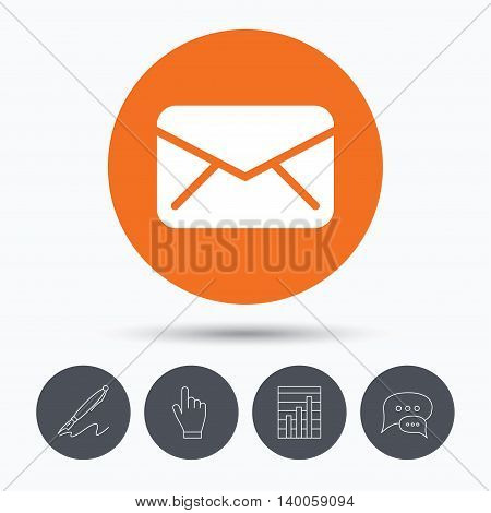 Envelope icon. Send email message sign. Internet mailing symbol. Speech bubbles. Pen, hand click and chart. Orange circle button with icon. Vector