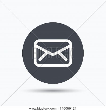 Envelope icon. Send email message sign. Internet mailing symbol. Flat web button with icon on white background. Gray round pressbutton with shadow. Vector