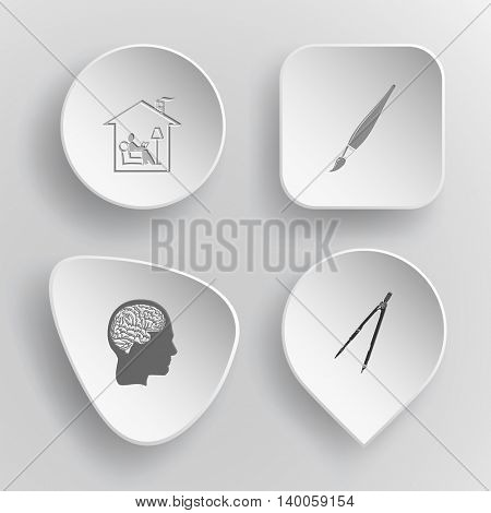 4 images: home reading, brush, human brain, caliper. Education set. White concave buttons on gray background. Vector icons.