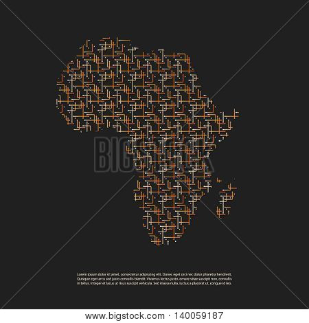 Abstract Network Patterned Map of Africa - Minimal Modern Style Technology Background, Creative Design Illustration Template